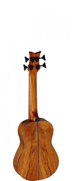 Rückseite der Bass Ukulele von Ortega mit einem Griffbrett aus Jatoba Holz